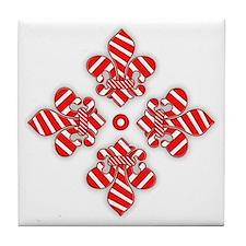 Candy Cane Fleur de lis Tile Coaster