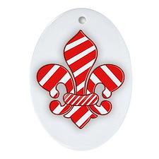 Candy Cane Fleur de lis Oval Ornament