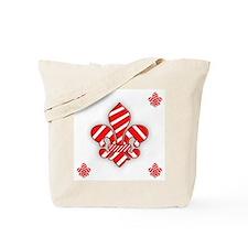 Candy Cane Fleur de lis Tote Bag