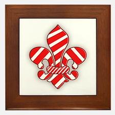 Candy Cane Fleur de lis Framed Tile