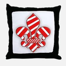 Candy Cane Fleur de lis Throw Pillow