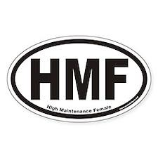 High Maintenance Female HMF Euro Oval Decal