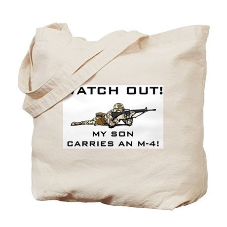 WATCH OUT MILITARY SON M-4 Tote Bag