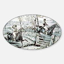 Fox chase - In full cry - 1846 Sticker (Oval)