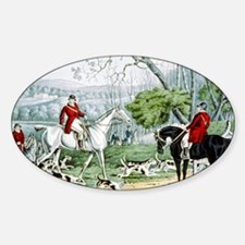 Fox chase - Throwing off - 1846 Sticker (Oval)