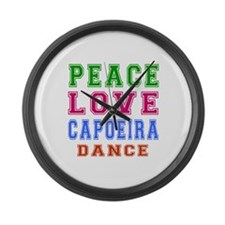 Peace Love Capoeira Dance Large Wall Clock