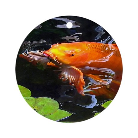 Red koi rising ornament round by guhl for Koi fish ornament