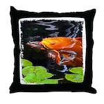 Red Koi Rising Throw Pillow