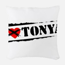I Hate Tonya Woven Throw Pillow