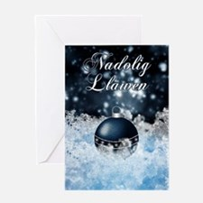 Welsh Language Christmas Card With Bauble On Ice