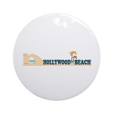 Hollywood Beach - Beach Design. Ornament (Round)