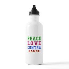 Peace Love Contra Dance Water Bottle