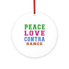 Peace Love Contra Dance Ornament (Round)