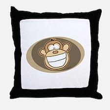 Cheese Grin Monkey Throw Pillow