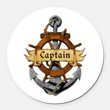 Captain and Anchor Round Car Magnet