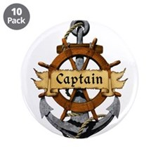 """Captain and Anchor 3.5"""" Button (10 pack)"""