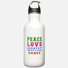Peace Love Country Western Dance Water Bottle