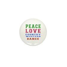 Peace Love Country Western Dance Mini Button (10 p