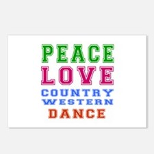 Peace Love Country Western Dance Postcards (Packag