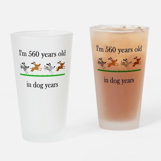 80 birthday dog years 1 Drinking Glass