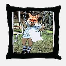 Red Fox Swings Throw Pillow
