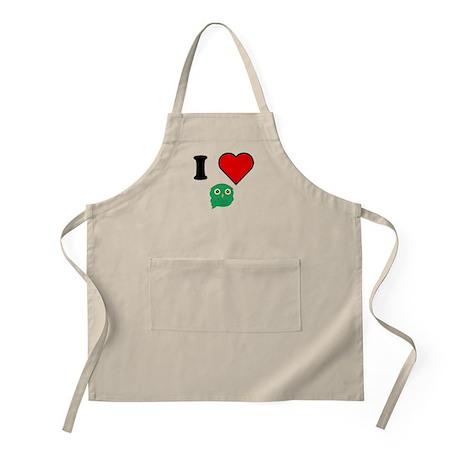 I Heart Green Owl Apron