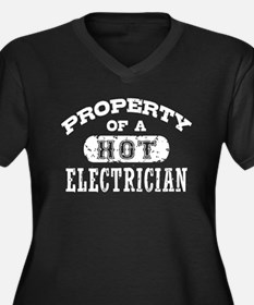 Property of a Hot Electrician Women's Plus Size V-