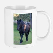 Black Percheron Mare at Pasture Mug