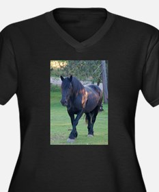 Black Percheron Mare at Pasture Plus Size T-Shirt