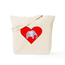 Purple Plaid Elephant Heart Tote Bag