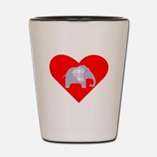 Purple Plaid Elephant Heart Shot Glass