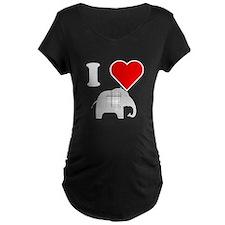 I Heart Grey Plaid Elephant Maternity T-Shirt