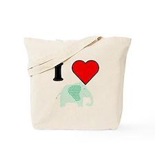 I Heart Green Polka Dot Elephant Tote Bag