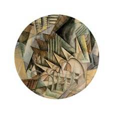 """Rush Hour by Max Weber Vintage Cubism 3.5"""" Button"""