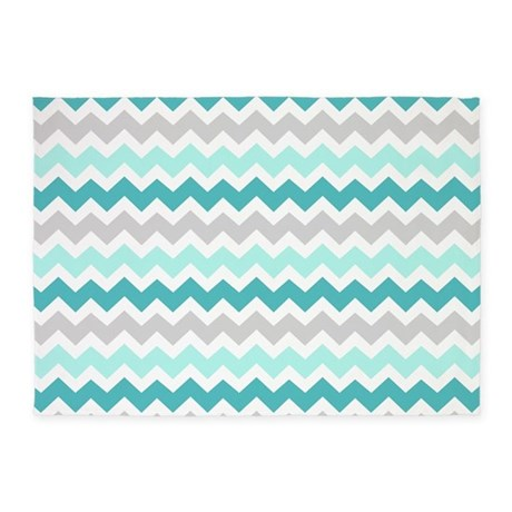 Teal Grey White Chevron 5'x7'Area Rug by DreamingMindCards