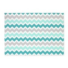 Teal Grey White Chevron 5'x7'Area Rug
