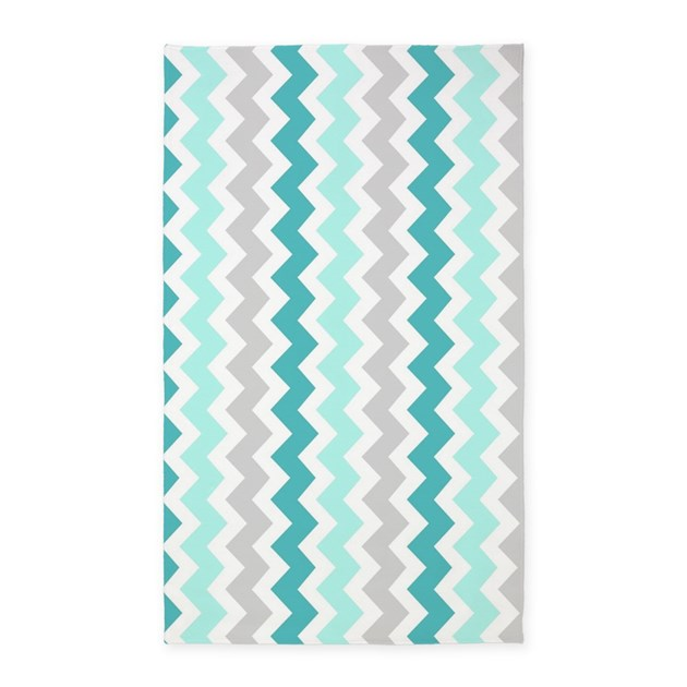 Teal Grey White Chevron 3'x5' Area Rug By DreamingMindCards