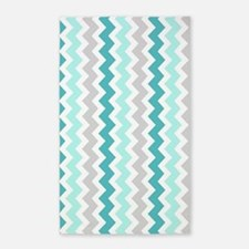 Teal Grey White Chevron 3'x5' Area Rug