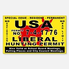 Liberal Hunt Permit Rectangle Decal