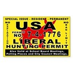 Liberal Hunt Permit Rectangle Sticker