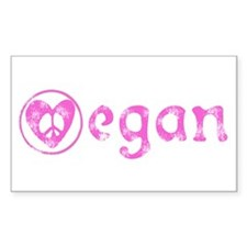 peace, love, vegan Rectangle Decal