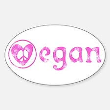 peace, love, vegan Oval Decal
