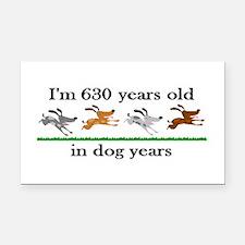 90 dog years birthday 2 Rectangle Car Magnet