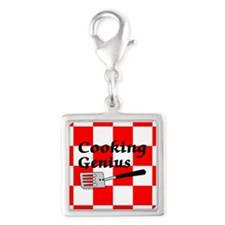 Cooking Genius Silver Square Charm