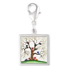 Fayetteville Stray Cats Silver Square Charm