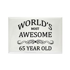 World's Most Awesome 65 Year Old Rectangle Magnet