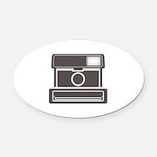Vintage Instant Camera Oval Car Magnet