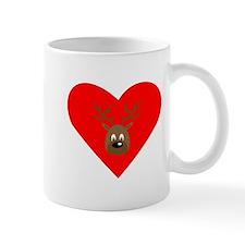 Cute Brown Reindeer Heart Small Mug