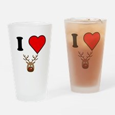 I Heart Red Nose Reindeer Drinking Glass
