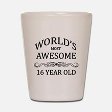 World's Most Awesome 16 Year Old Shot Glass